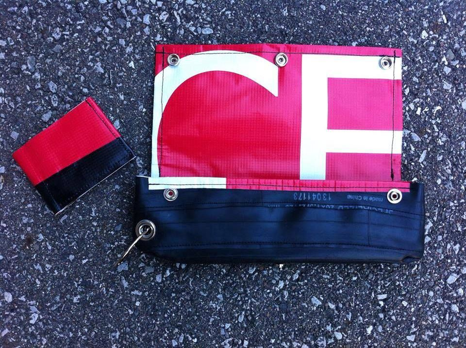 Upcycled Bicycle Inner Tube and Used Vinyl Banner Clutch/Top