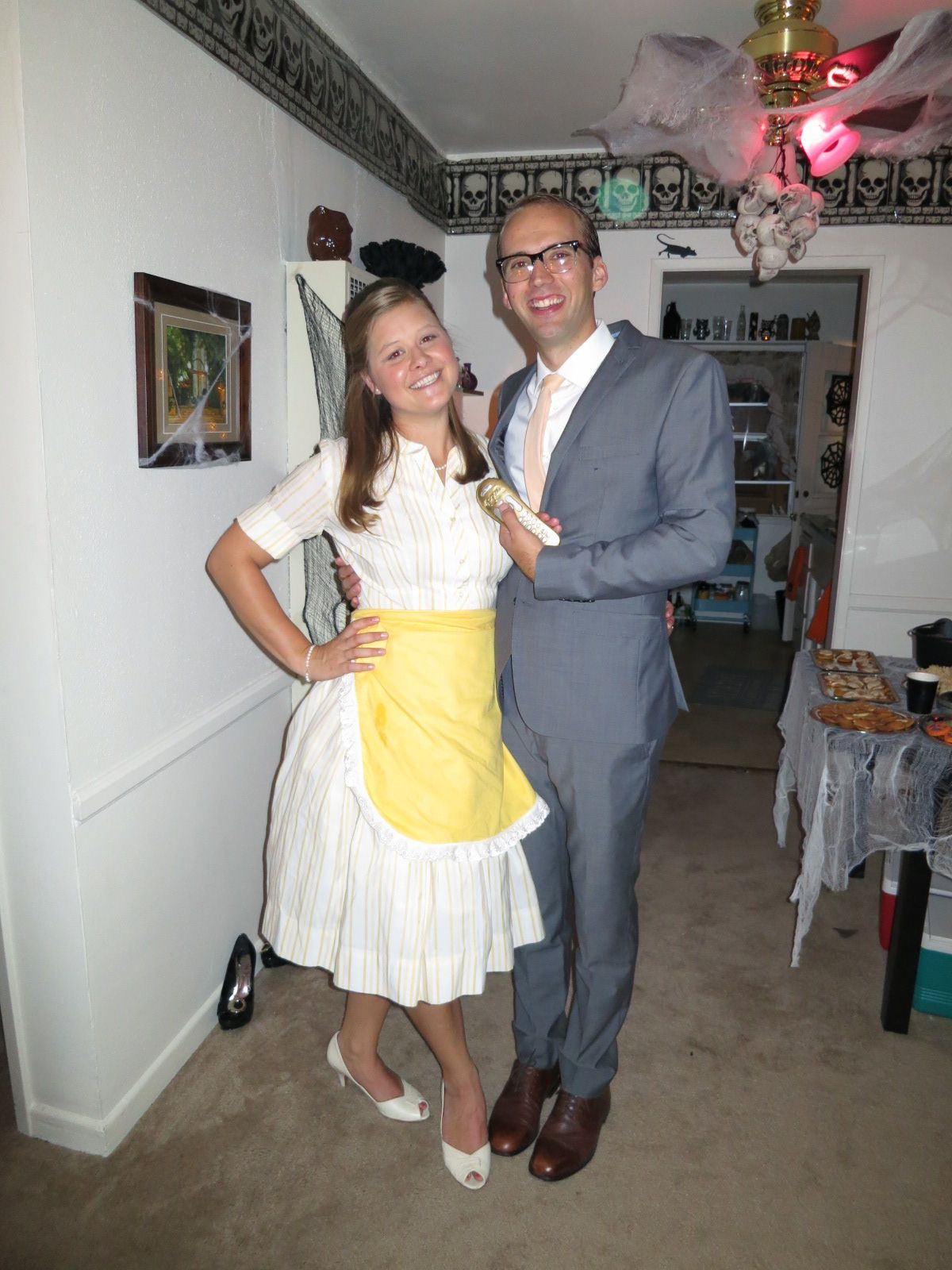 Stepford Wife And Husband S Costume With Personalized Gold Spray Painted Remote