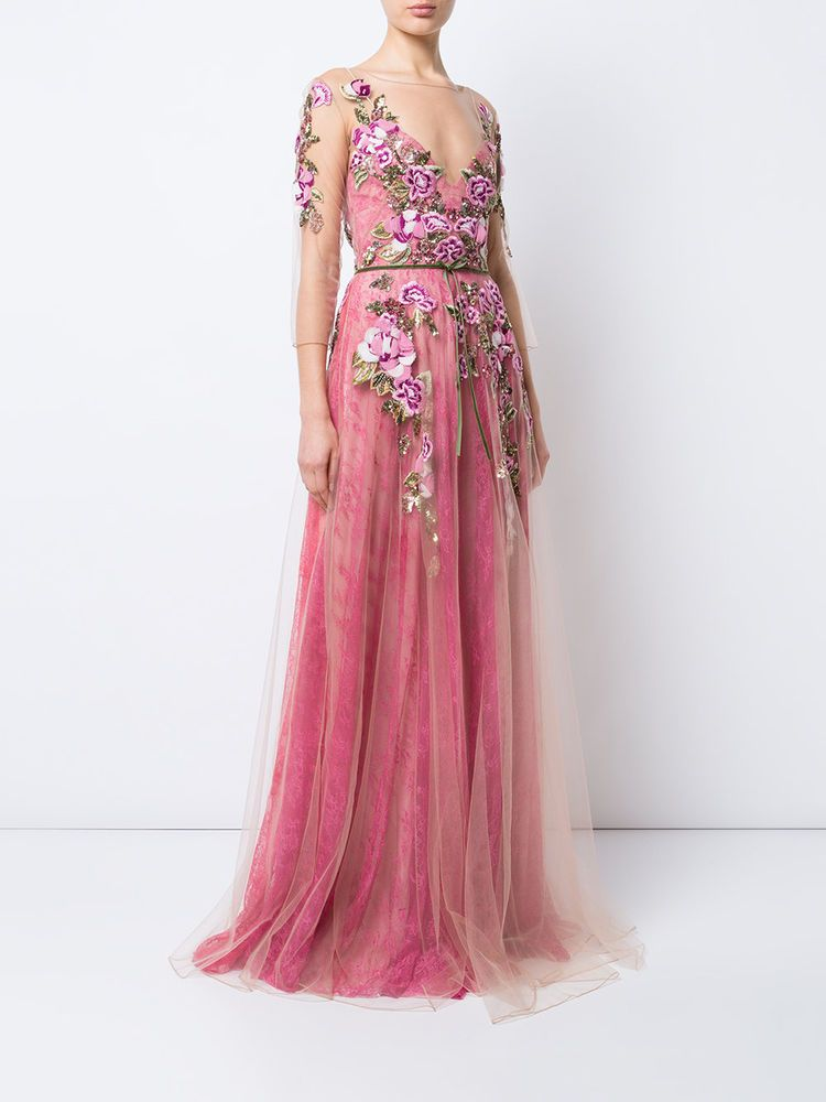891fd2af $1195 NEW MARCHESA NOTTE Floral Embroidered Lace Gown Tulle Coral Pink Dress  10 #Marchesa