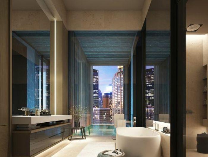 Badezimmer Fenster ~ Modernes badezimmer mit ovaler badewanne und großem fenster