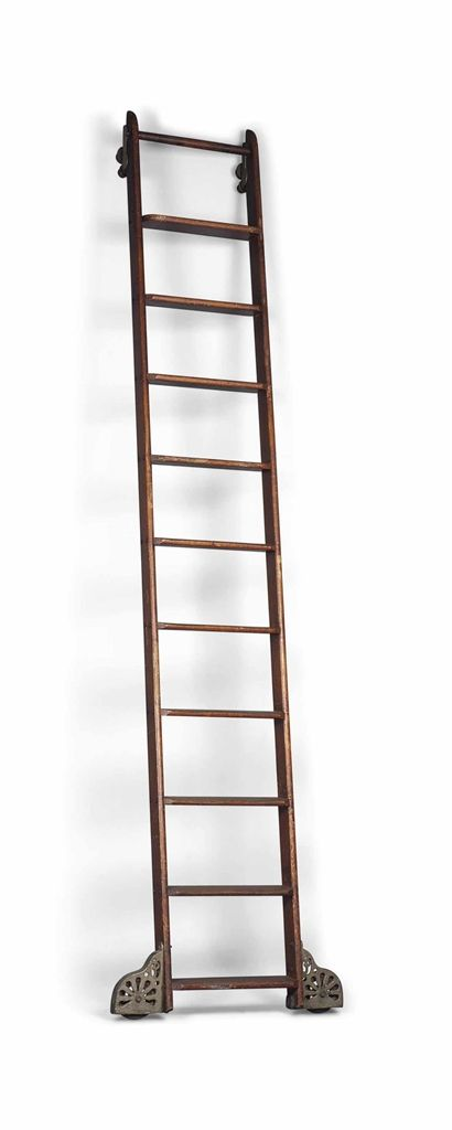 By Putnam Rolling Ladder Company New York Early 20th Century A Similar Pair Of Oak Rolling Library Ladders Rolling Ladder Library Ladder Ladder