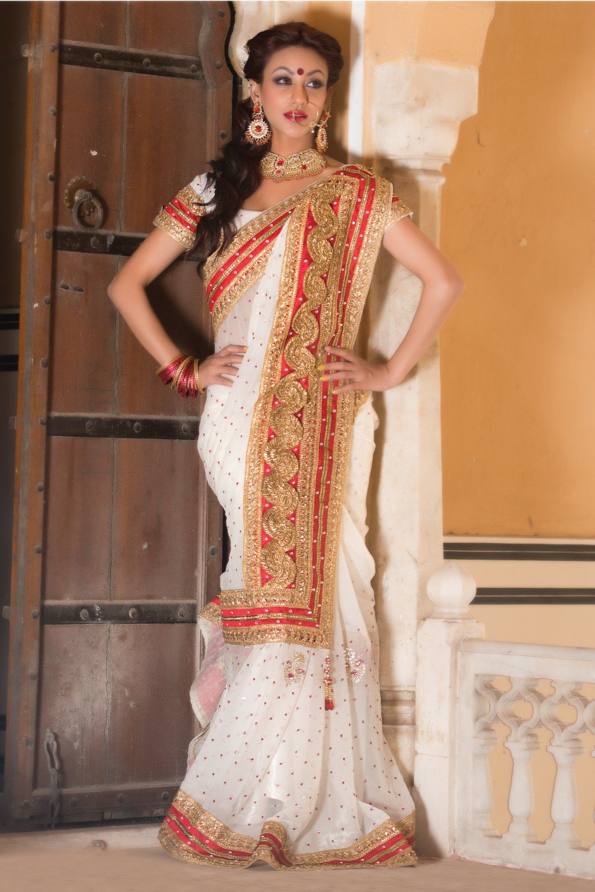 Stunning Bengali Bridal Wear Saree With Border Regular Price: Rs. 4,590.00 Buy Now @ 20.0% Off ...
