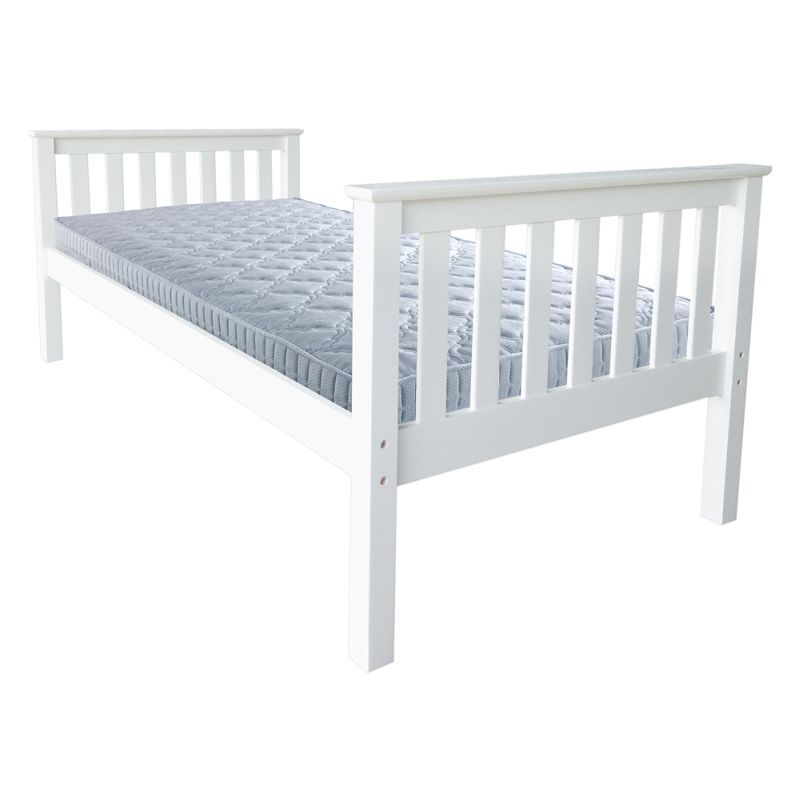 Best Luxo Marcella Solid Pine Single Timber Bed White Bed 400 x 300