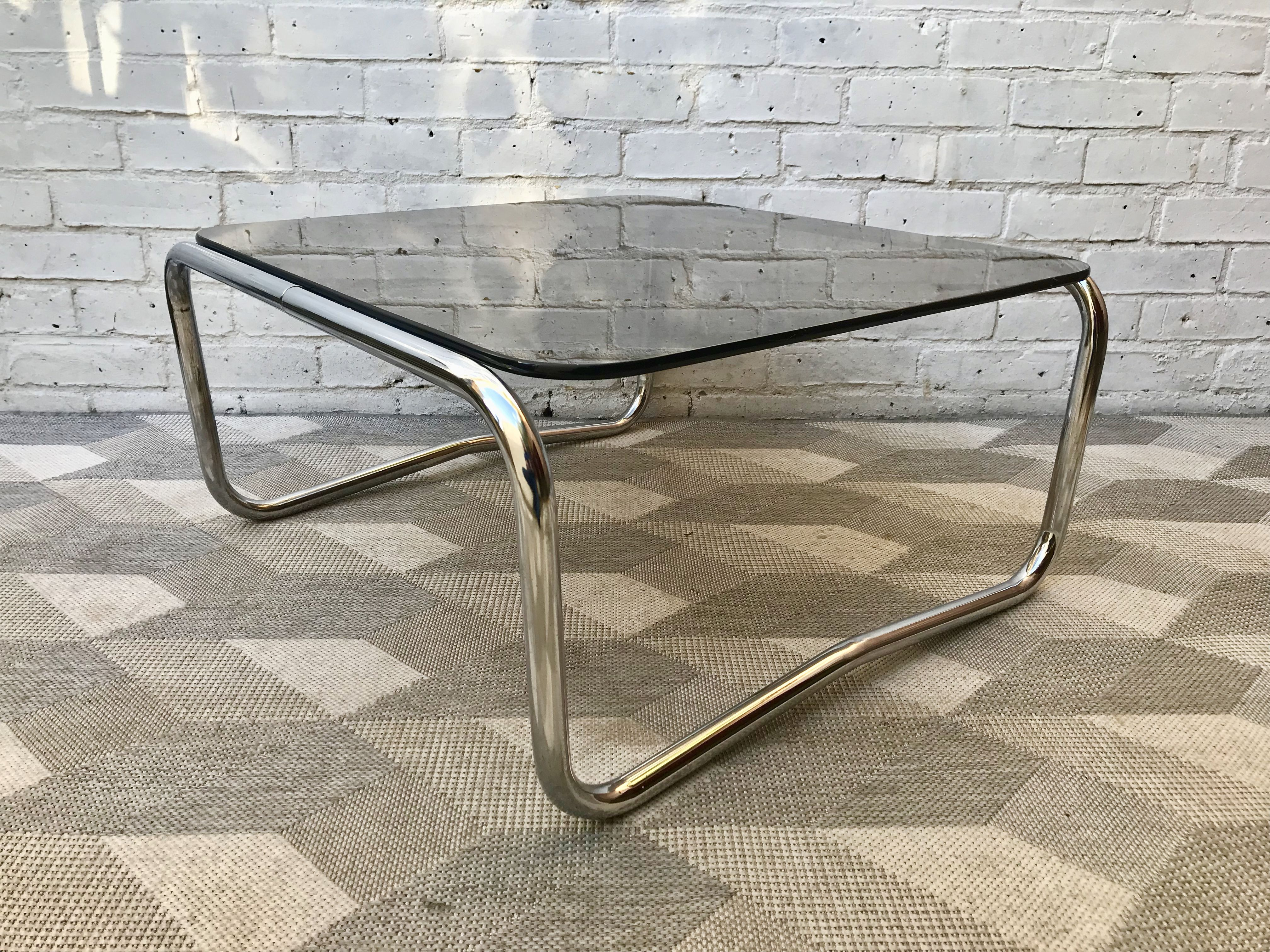 Vintage Glass Chrome Square Coffee Table #891 | DBD Coffee ...