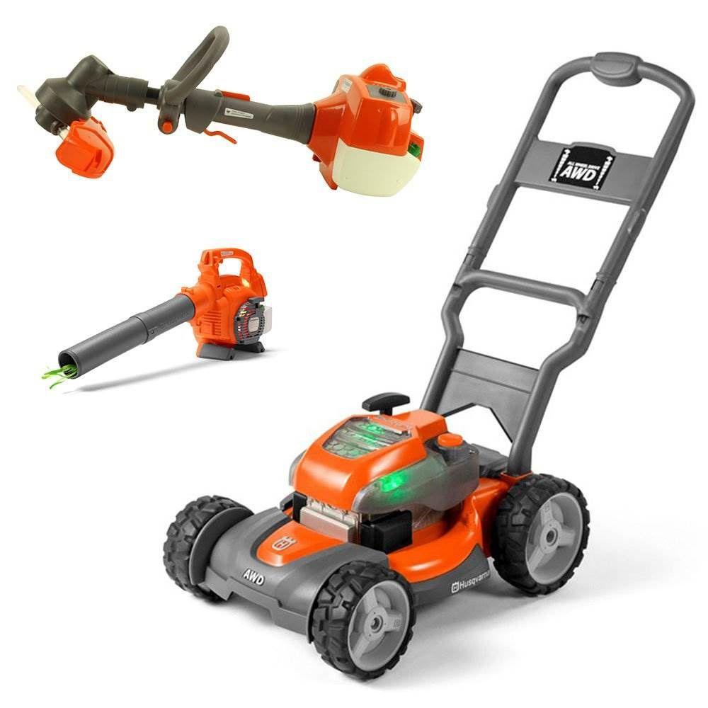 Husqvarna Kids Toy Lawn Mower, Orange + Toy Leaf Blower