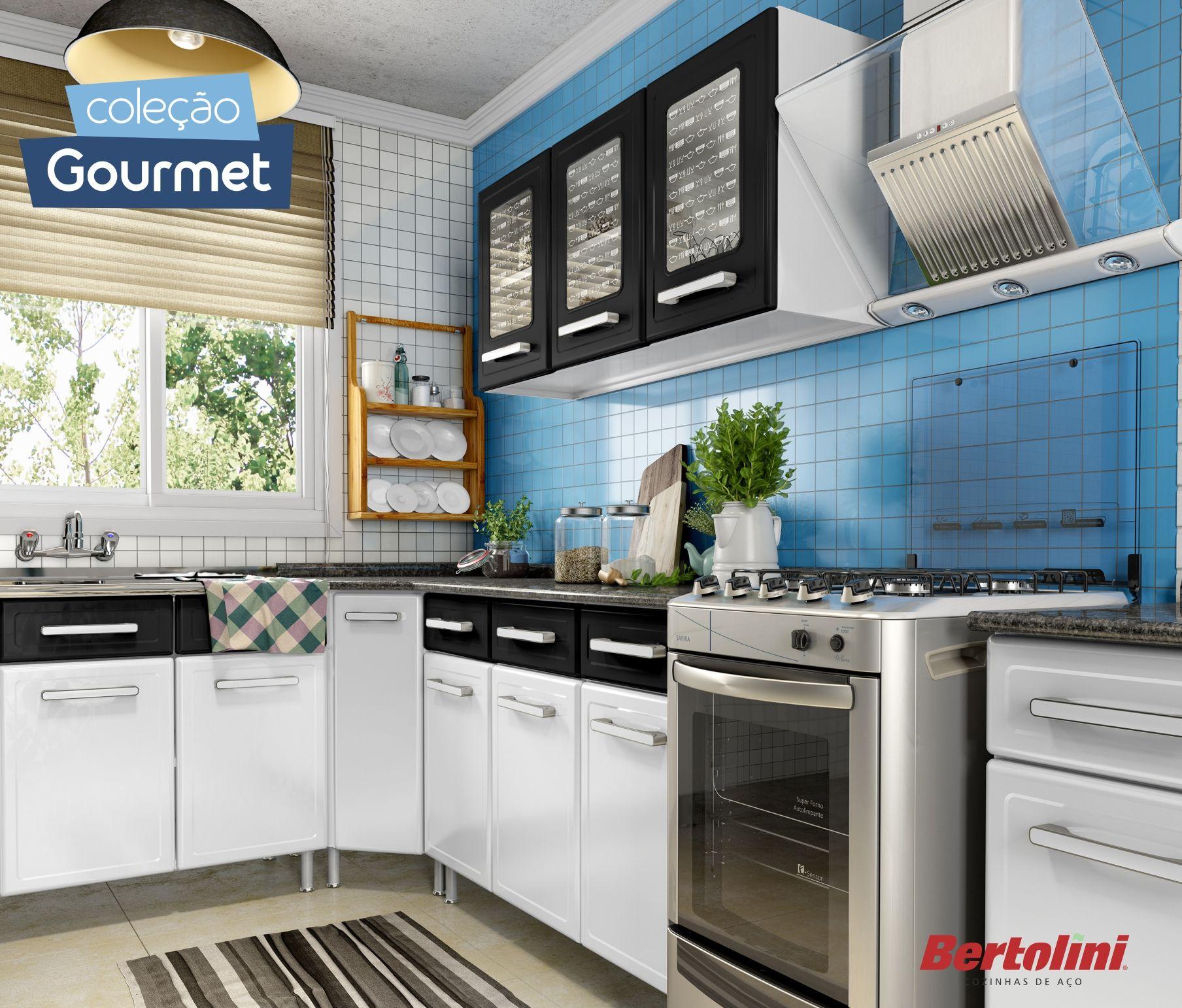 Cozinha Gourmet Bertolini Preto E Branco Sofistica O Na Sua Casa