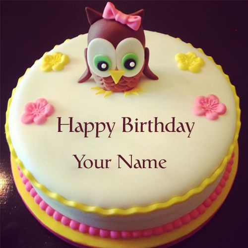 Cute And Sweet Birthday Cake With Your Name