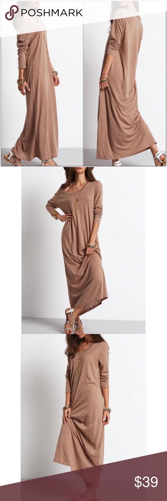 Last one gorgeous mocha loosefit maxi dress boutique