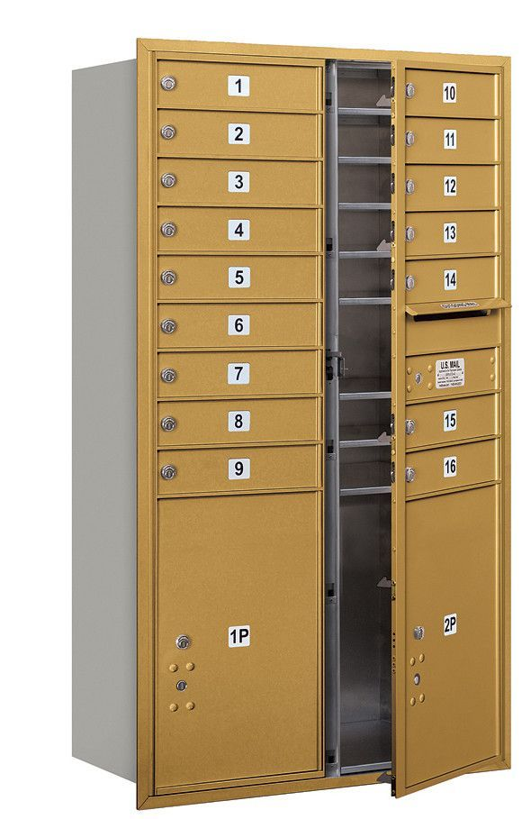 4C Horizontal Mailbox 15 Door High Unit Double Column 16 Doors and 2 Parcel Lockers Front Loading Private Access