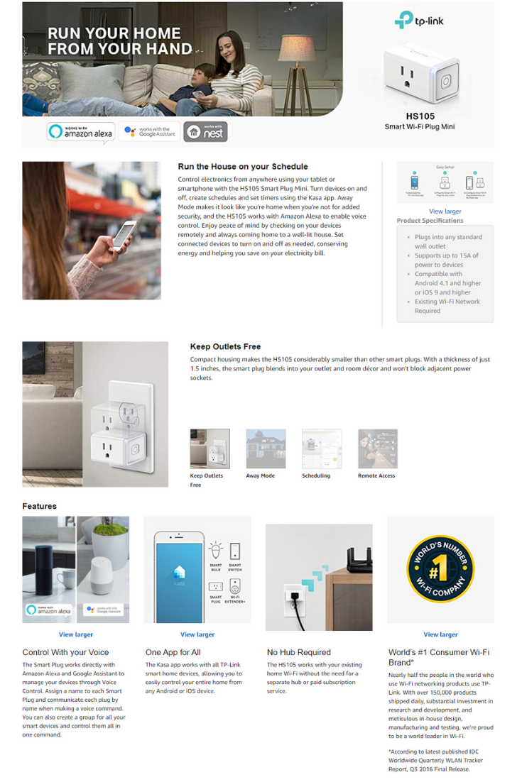 Kasa Smart Plug Mini Outlet by TP-Link - Reliable WiFi