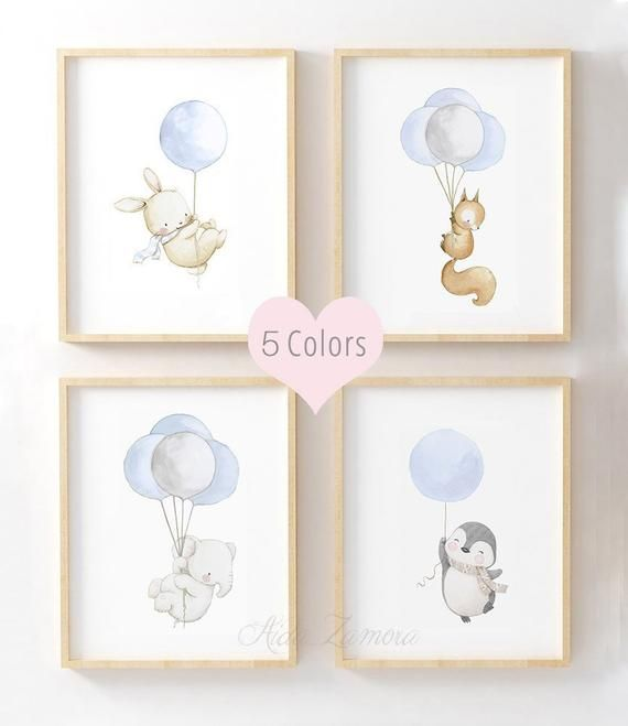 Little animals with balloons to accompany your baby, 4 color options to choose from!  Set of four prints (unframed)  Its a reproduction of my original illustration printed with detailed on special watercolor paper 200 g. honed natural white, acid-free and 100% cellulose, gives appearance of original