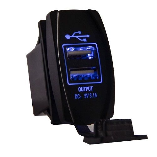 MICTUNING Universal Rocker Style Car USB Charger Two USB
