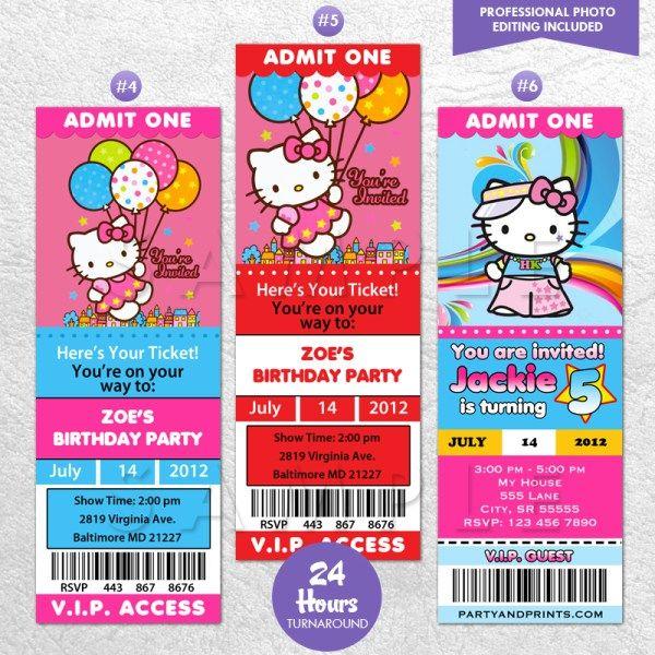 Super Cute Hello Kitty Ticket Invitation Or VIP Pass
