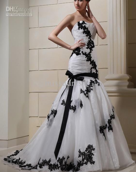Cheap Best Selling Black And White Lace Ribbon Organza Sheath ...
