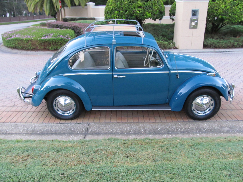 volkswagen beetle  nicely restored sunroof bug finished  sea blue    bone