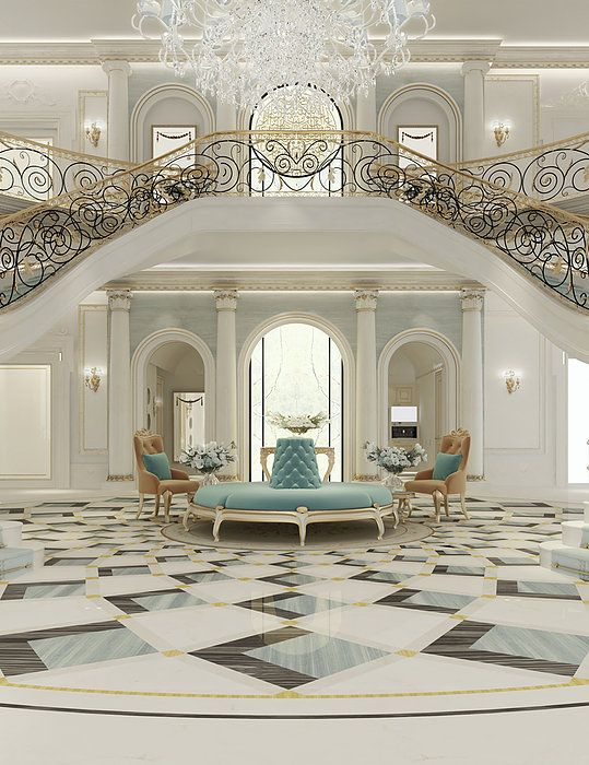 Luxury interior design for grand staircase by ions for Grand living room interior design
