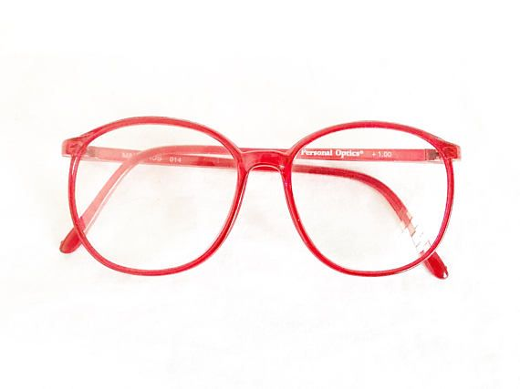 Vintage CHERRY RED Glasses Eyeglasses ROUND 1980s Sunglasses ...