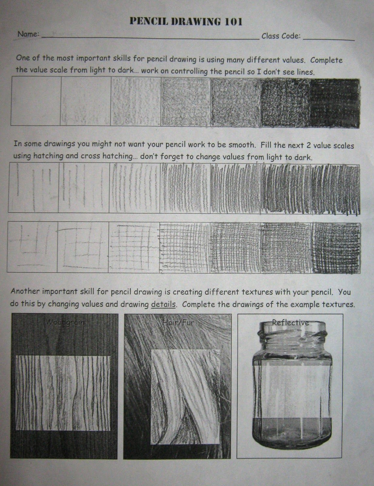 Art In The Middle School Nice Pencil Drawing Worksheet