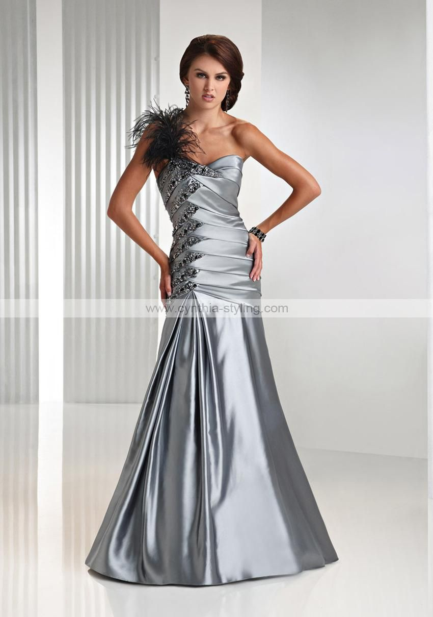 Formal Ball Gowns | ... silver satin feather strap evening prom ...