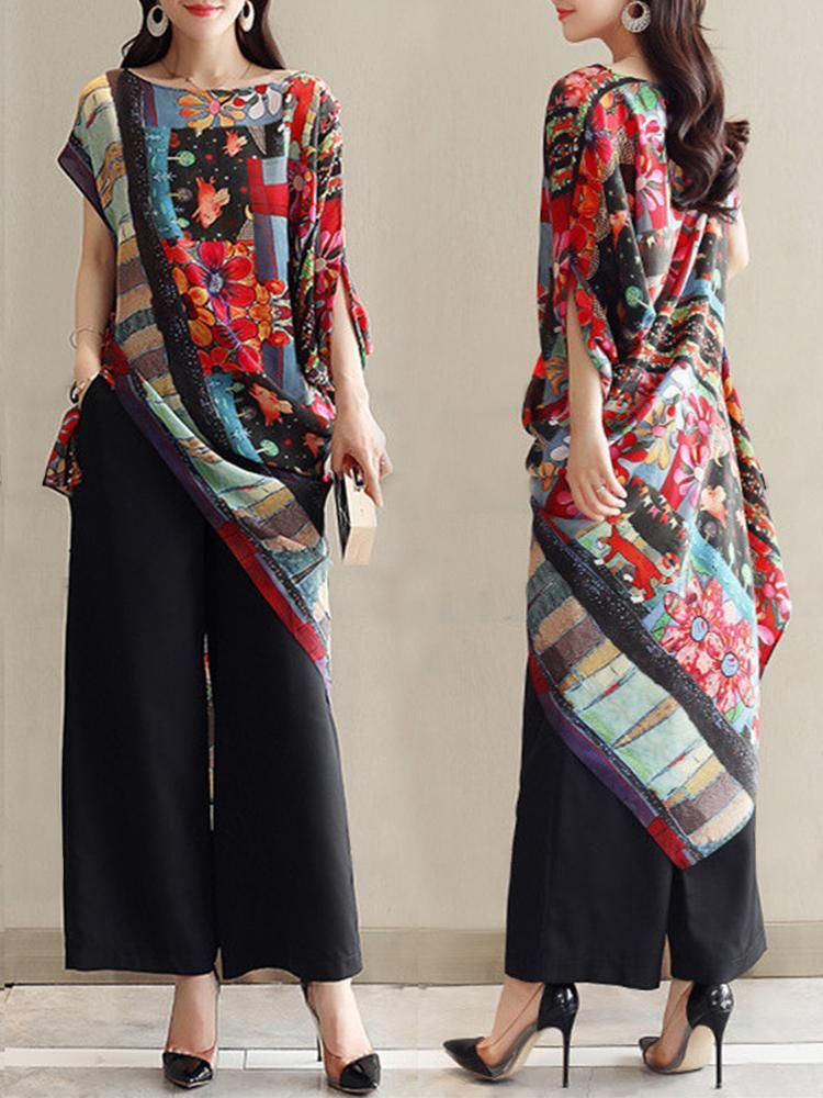 Cheap Asymmetrical Folk Style Print O-neck Vintage Blouses Online – Instern c9bfe420498d