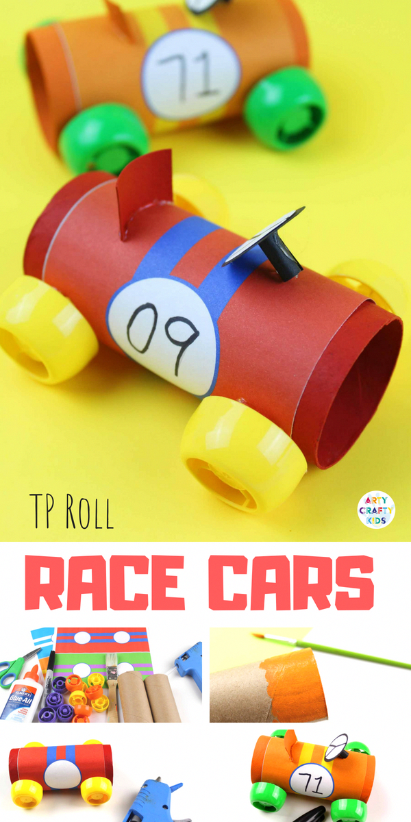 Paper Tube Racing Cars Fam Bam Bash Pinterest Crafts For Kids