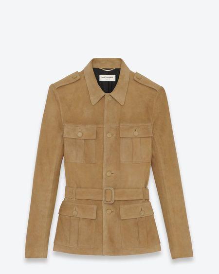 YSL Saharienne Jacket in Beige Suede