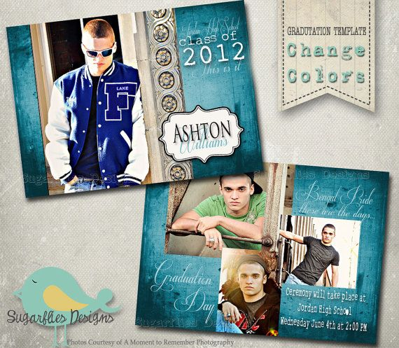 Graduation Announcement PHOTOSHOP TEMPLATE - Senior Graduation 5 ...