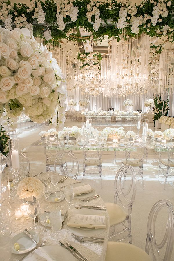 Luxury Southern California All White Wedding Strictly Weddings All White Wedding White Wedding Decorations White Weddings Reception