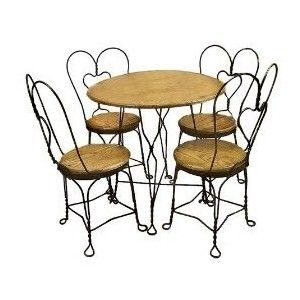 Great Ice Cream Parlor Tables And Chairs, Twisted Wire
