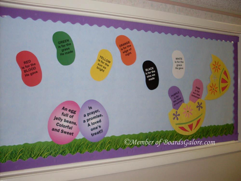 Easter Board With Meaning Of Jelly Bean Colors Classroom