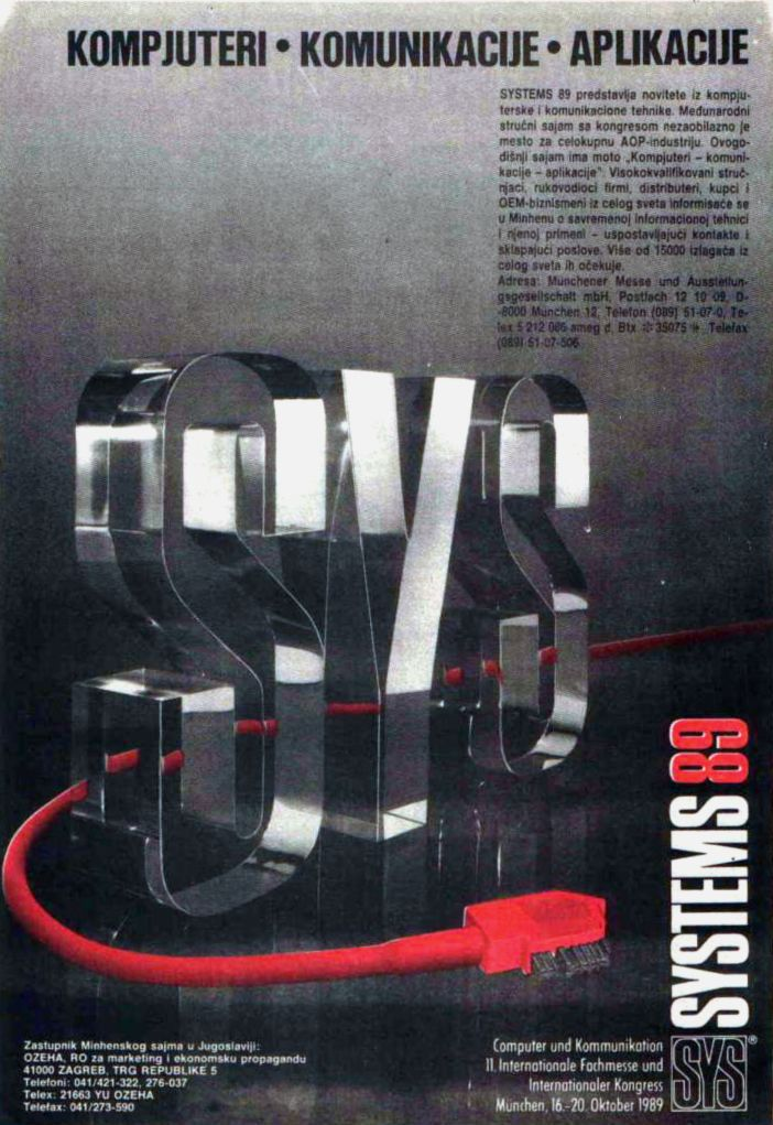 Advertisement For Systems 89 International Fair And Exhibition Computer Industry Mnchener Messe Published In Very Popular Slovenian Magazine Svet