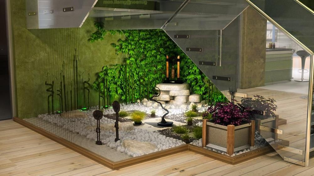 Garden, Green Wall Indoor Garden Design Ideas Feat Some Bonsai And White  Gravel Combine On Fascinating Decoration : Wonderful Decorating Indoor Garu2026 Awesome Ideas