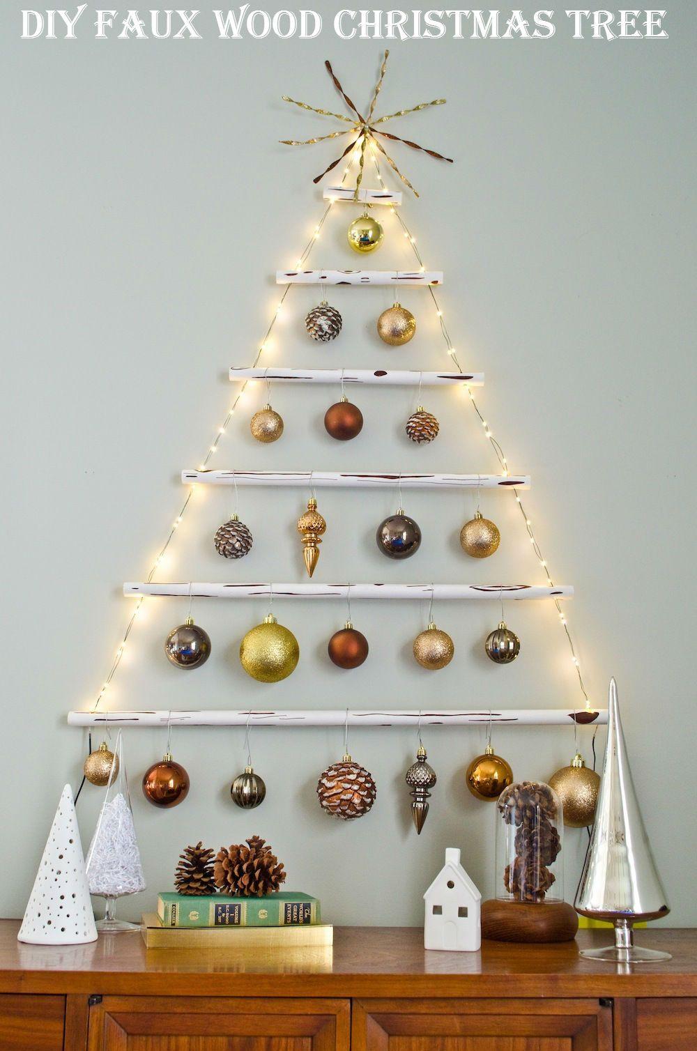 Diy Faux Wood Christmas Tree Diy Ideas By You Hanging Christmas Tree Wall Christmas Tree Alternative Christmas Tree