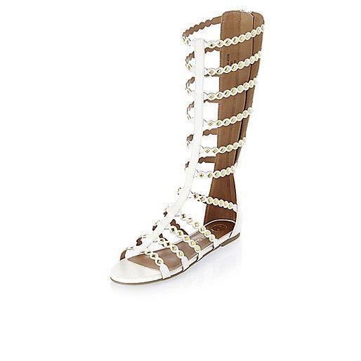 Girls white studded gladiator sandals