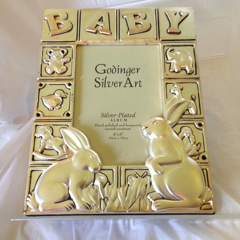 Godinger Silver Plated Baby Photo Album For 4x6 Bunny Rabbit Theme