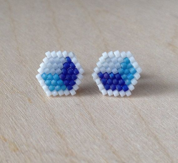 Beaded Stud Earrings Cube Style in Blue by GoodBeadDeeds on Etsy