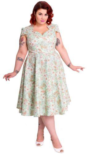 Hell Bunny Camellia 50s Dress Plus Size Nwt Sizes 2x 4x Rockabilly