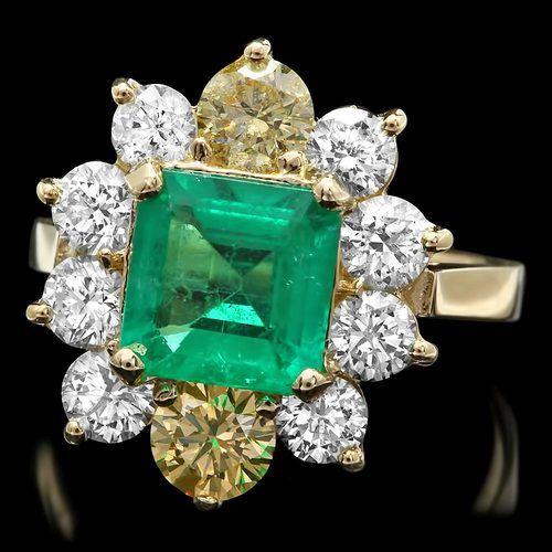 Emerald, Yellow and white diamonds!  Yummy!