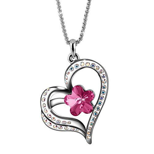 56aa26de1 Sivery Mothers Day Gifts 'Eternal Love' Women Heart Necklace with Silver  Swarovski Crystal, Jewelry for Women