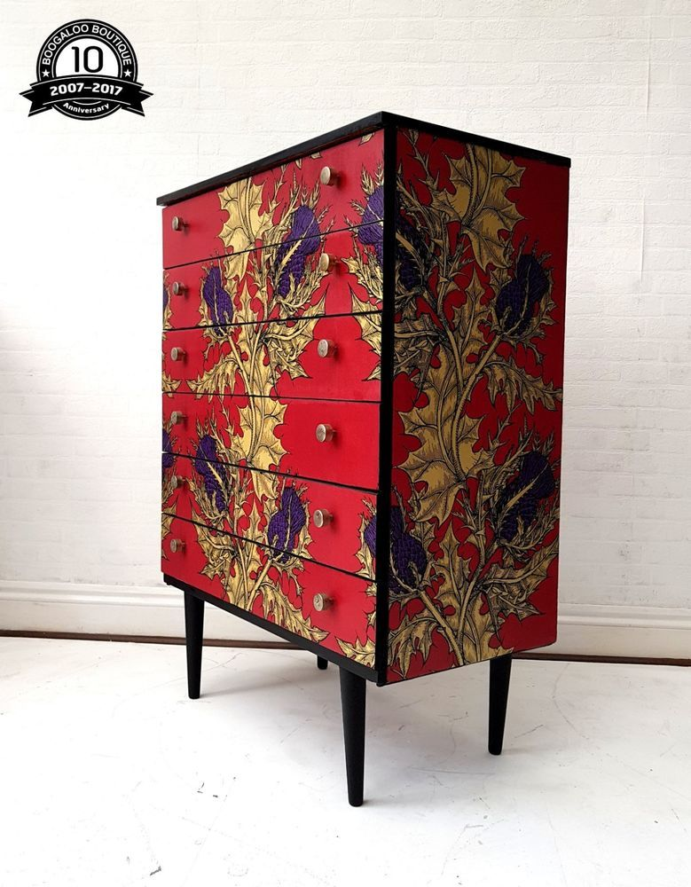 Details About Stunning Professionally Upcycled Mid Century Chest Of Drawers Timorous Beasties Ausgefallene Mobel Decoupage Mobel Und Mobel Restaurieren