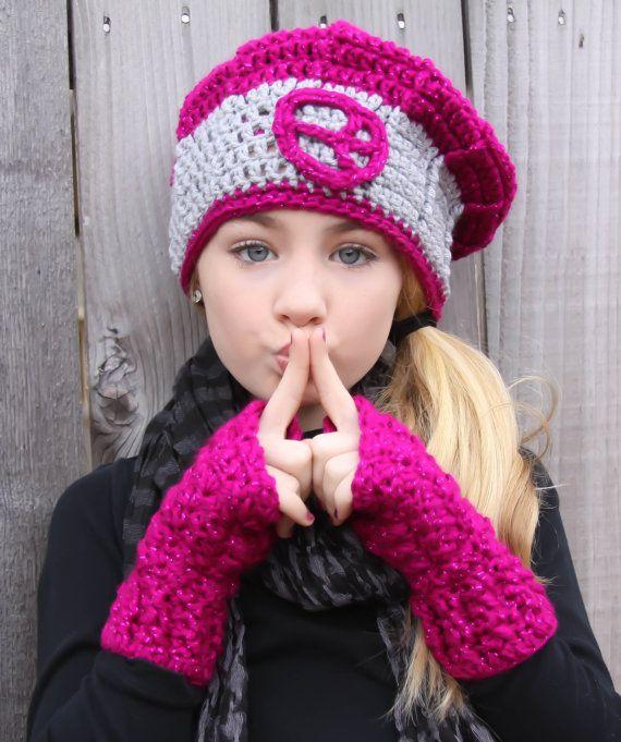 Cute Gloves Tween Girls Clothes Crochet Texting Mittens Raspberry ...