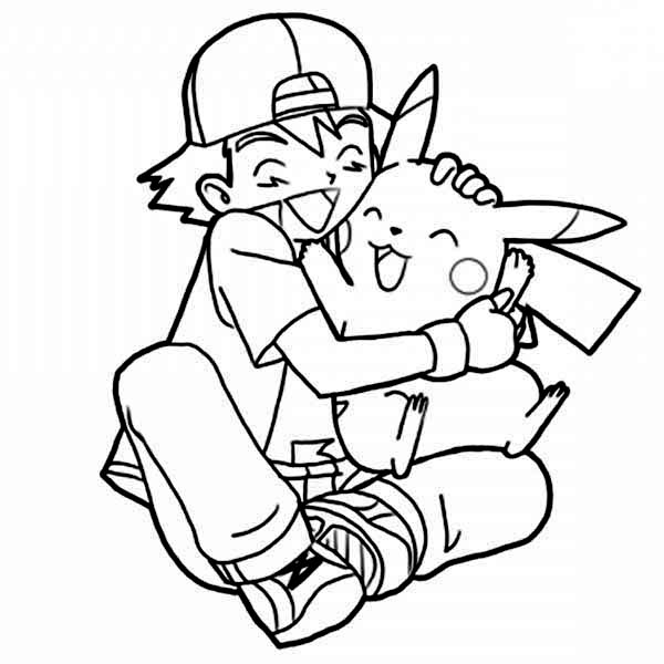 Ash Ketchum Hug Pikachu So Tight On Pokemon Coloring Page Coloring Sky Pikachu Coloring Page Pokemon Coloring Pages Pokemon Coloring
