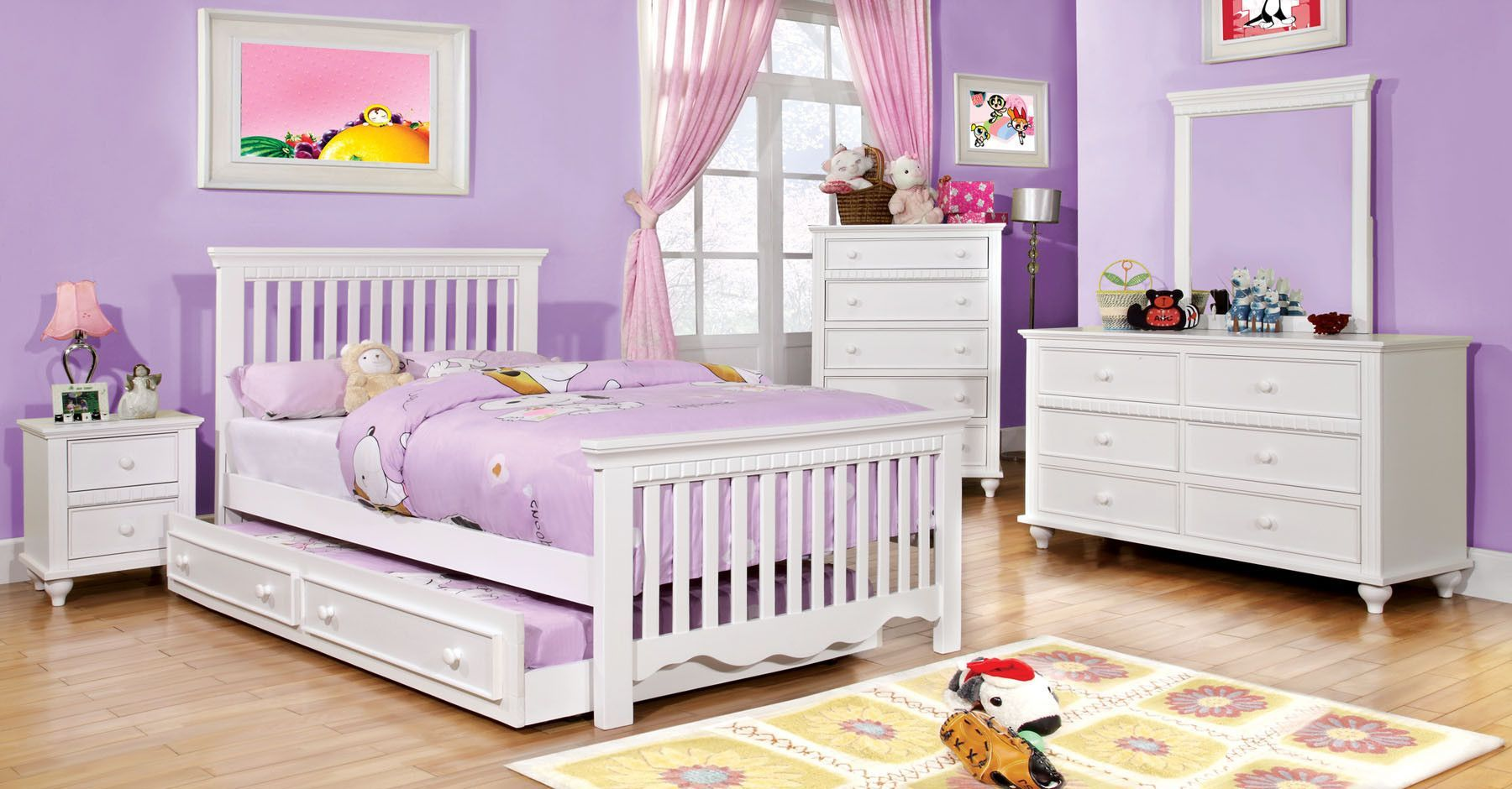 Caspian White Beds Collection CM7920WH Twin size bed