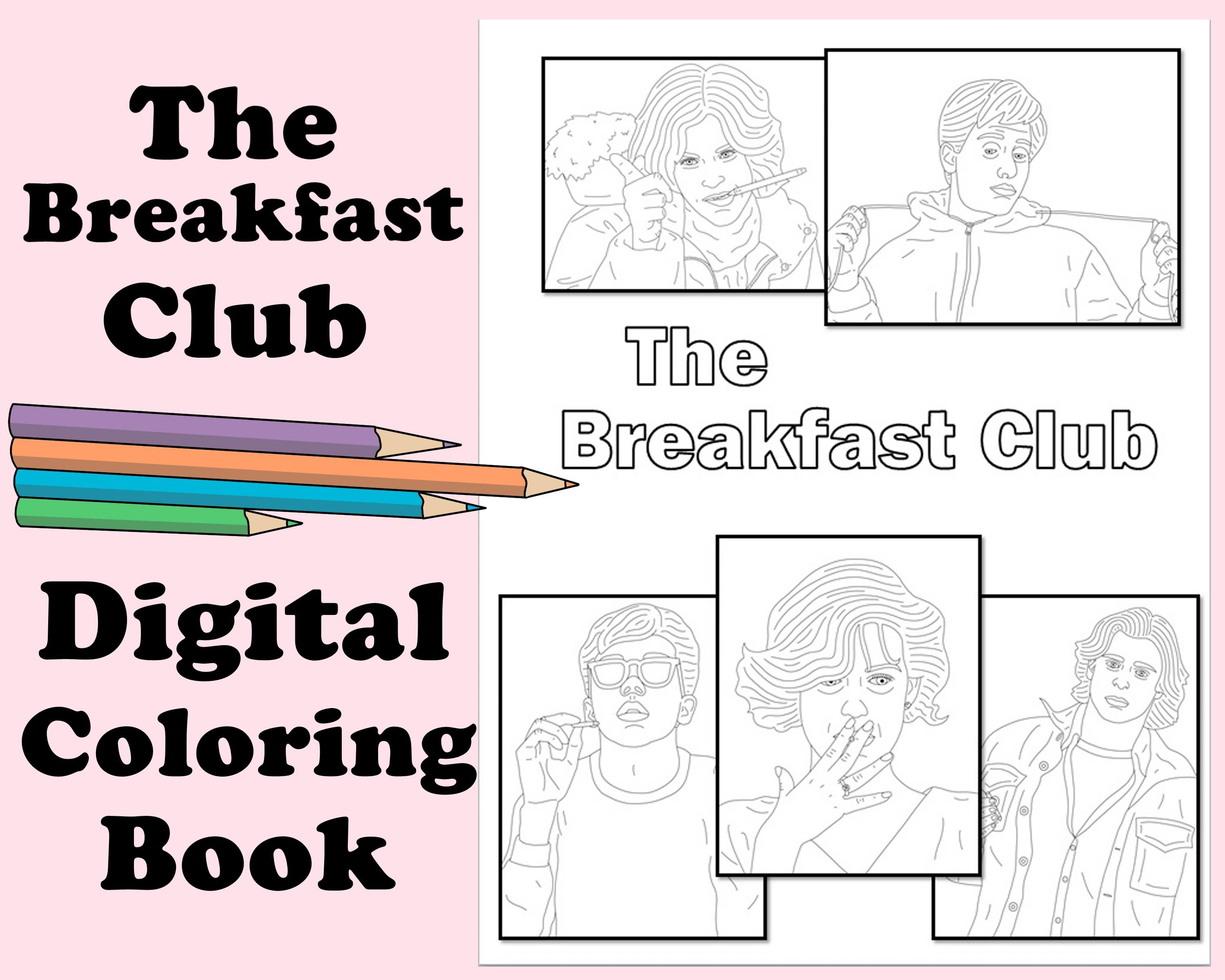 The Breakfast Club Coloring Book Instant Printable Digital Pdf Travel Rainy Day Activity Art Therapy Coloring Pages Romance 80s Coloring Books Coloring Pages The Breakfast Club