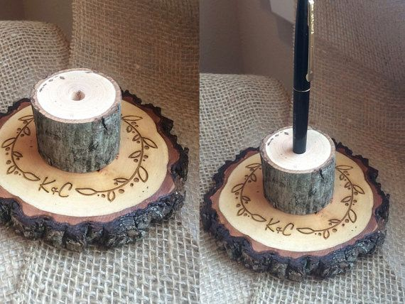 Rustic Wedding Pen Holder Wood Slice Pen Holder by SweetHomeWoods
