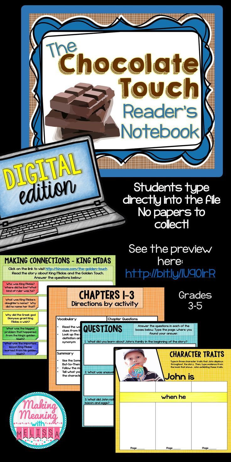 Chocolate Touch Novel Unit 3rd to 5th grade PAPERLESS