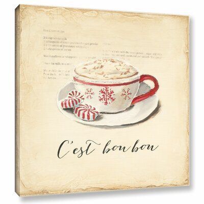 ArtWall C Est Bon Bon is a gorgeous reproduction featuring a coffee drink with three small peppermints. A wonderful conversation piece that will compliment any home or office. Size: 14