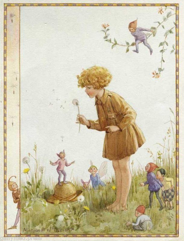 Margaret Tarrant - The Brownie's Clock - BROWNIE PRINT