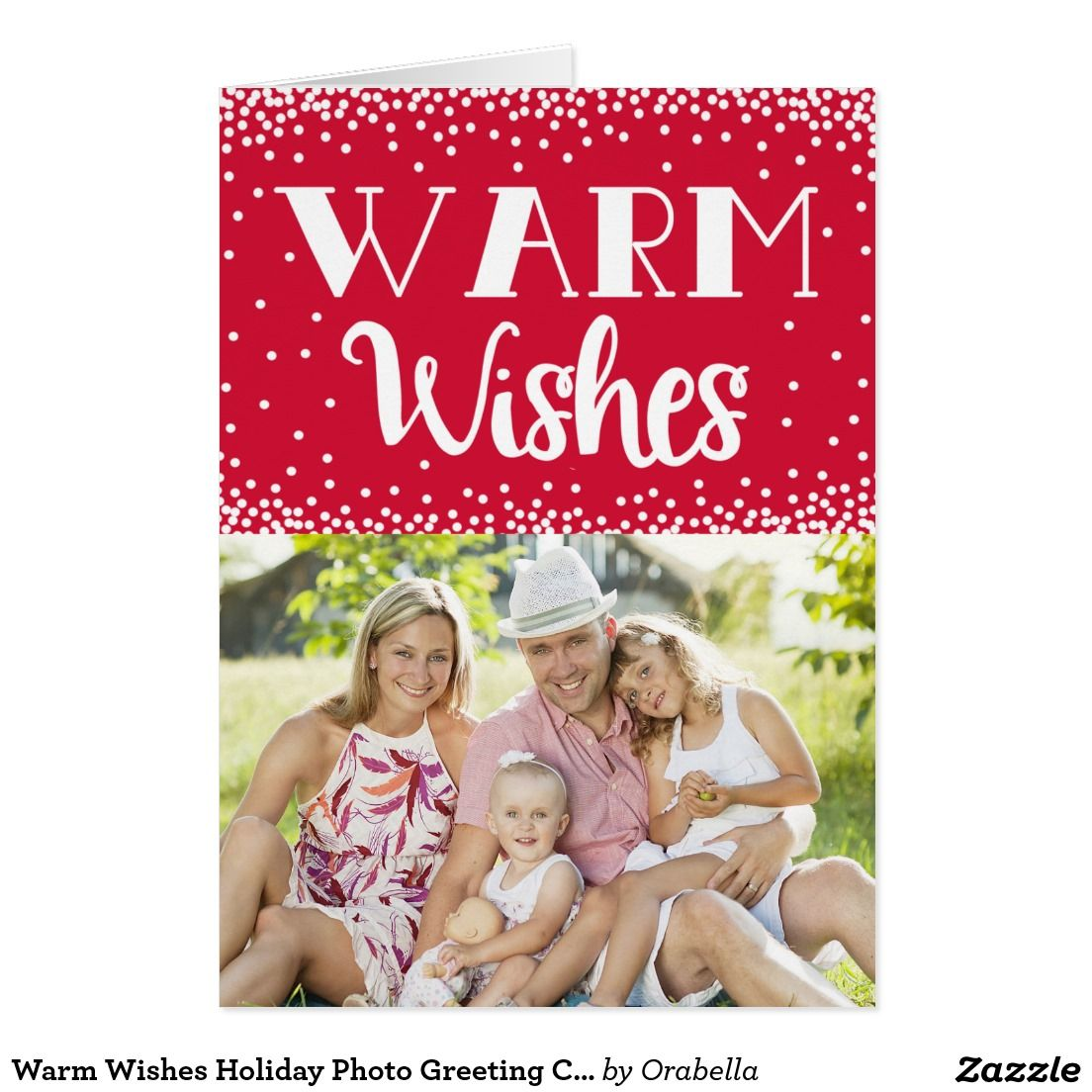 Warm wishes holiday photo greeting card red custom modern warm wishes holiday photo greeting card red kristyandbryce Gallery