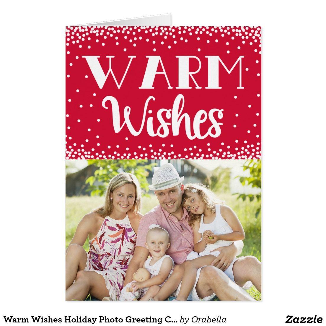 Warm Wishes Holiday Photo Greeting Card Red Custom Modern